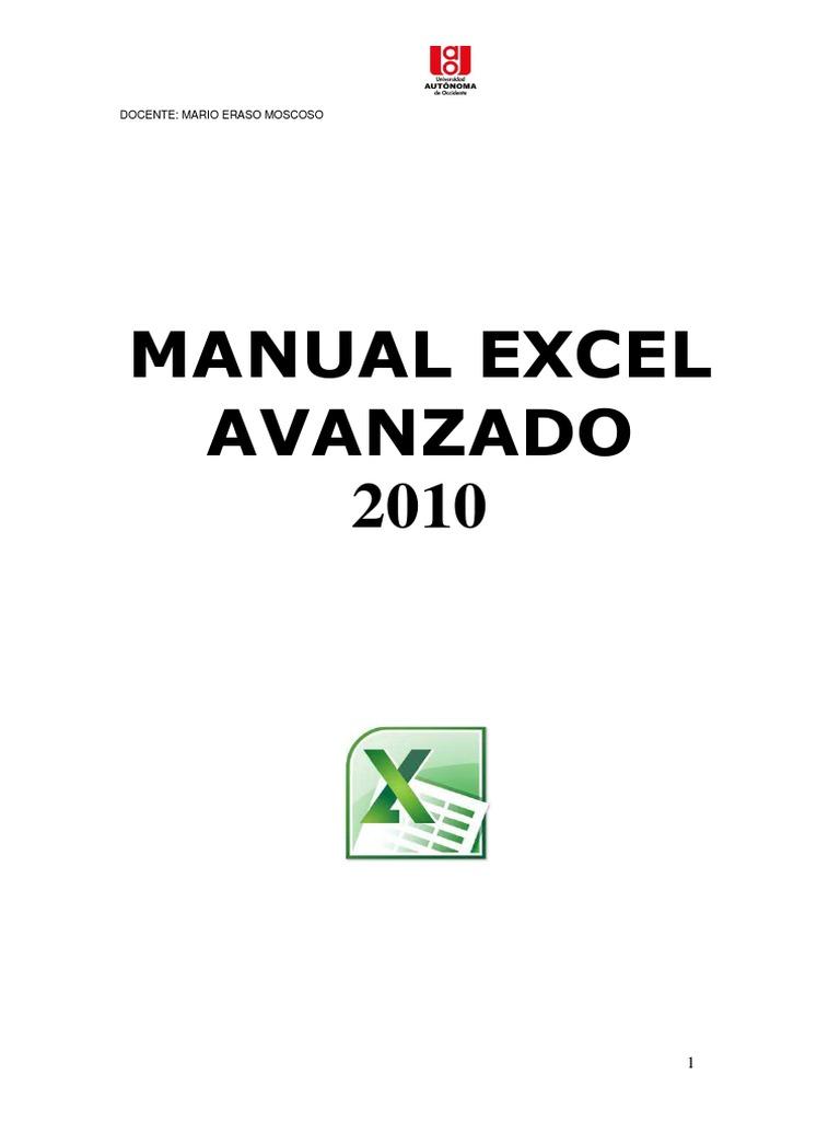 Manual Excel Avanzado: Docente: Mario Eraso Moscoso