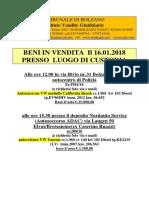 Aggiornamento-Aktualisierung Dd.15.1.18 Elenco Aste All'Incanto e Telematiche
