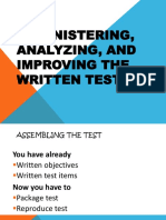 Administering Analyzing and Improving Test