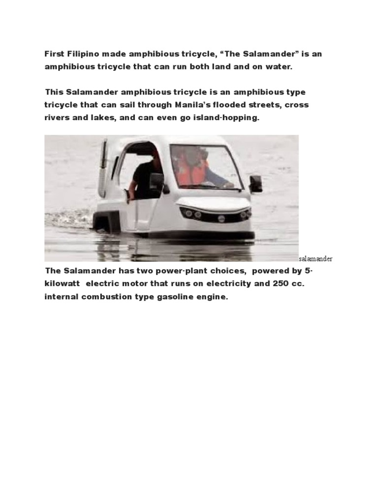 First Filipino Made Amphibious Tricycle | Fuel Economy In