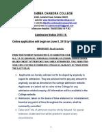 HCC Admission Notice 2018