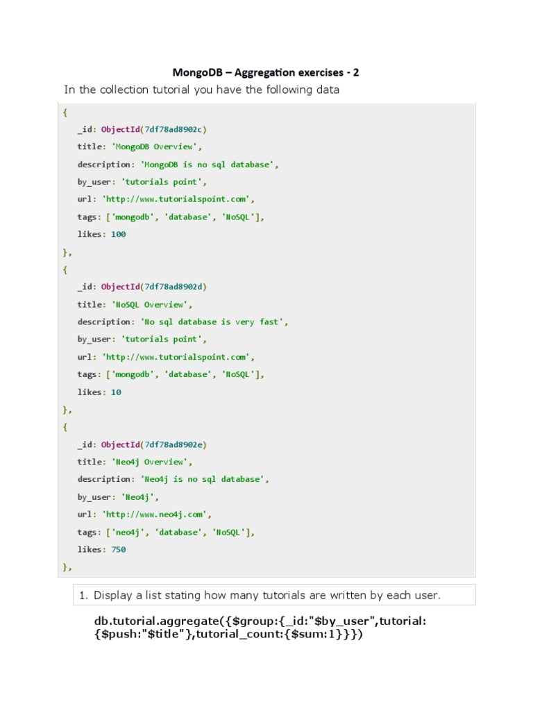 MongoDB Aggregate Exercise2 | Mongo Db | No Sql