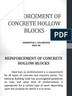 Reinforcement of Concrete Hollow Blocks