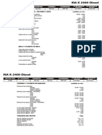 KIA K 2400 Diesel, Datos tecnicos