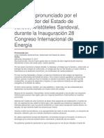 Inauguración 28 Congreso Internacional de Energía