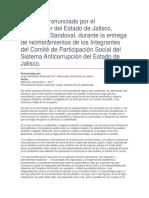 Entrega de Nombramientos de Los Integrantes Del Comité de Participación Social Del Sistema Anticorrupción Del Estado de Jalisco.