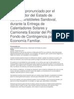 Entrega de Calentadores Solares y Camioneta Escolar Del Programa Fondo de Contingencia Para La Economía Familiar