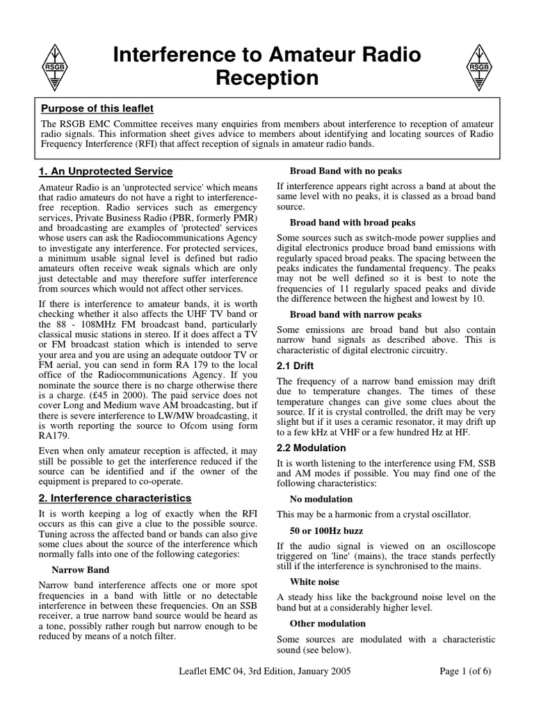 Interference to Amateur Radio Reception: Purpose of this leaflet
