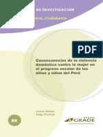 Consecuencias de La Violencia Doméstica Contra La Mujer en El Progreso Escolar de Los Niños y Niñas Del Perú