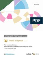 Informe del INDEC sobre indicadores de empleo durante el primer trimestre