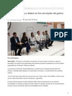 19/06/2018 Participan Sylvana y Maloro en foro de empleo del gremio empresarial