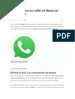 Trucos Para No Salir en Línea en WhatsApp