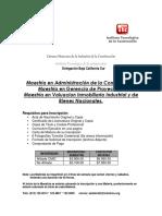Costos y Requisitos Maestrias 2018