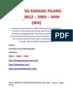 GENTENG KARANG PILANG FLAT, 0812 – 3969 – 3494 (WA)