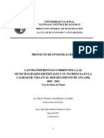 (Plan de Investigación) Transferencia y Calidad de Vida 2003 - 2012