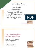 Writing Class, Descriptive Essay_the Autobiography