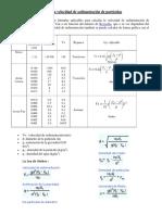 Calculo de La Velocidad de Sedimentacion de Particulas