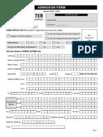 Admission Form[Regular Delhi] 2018 19