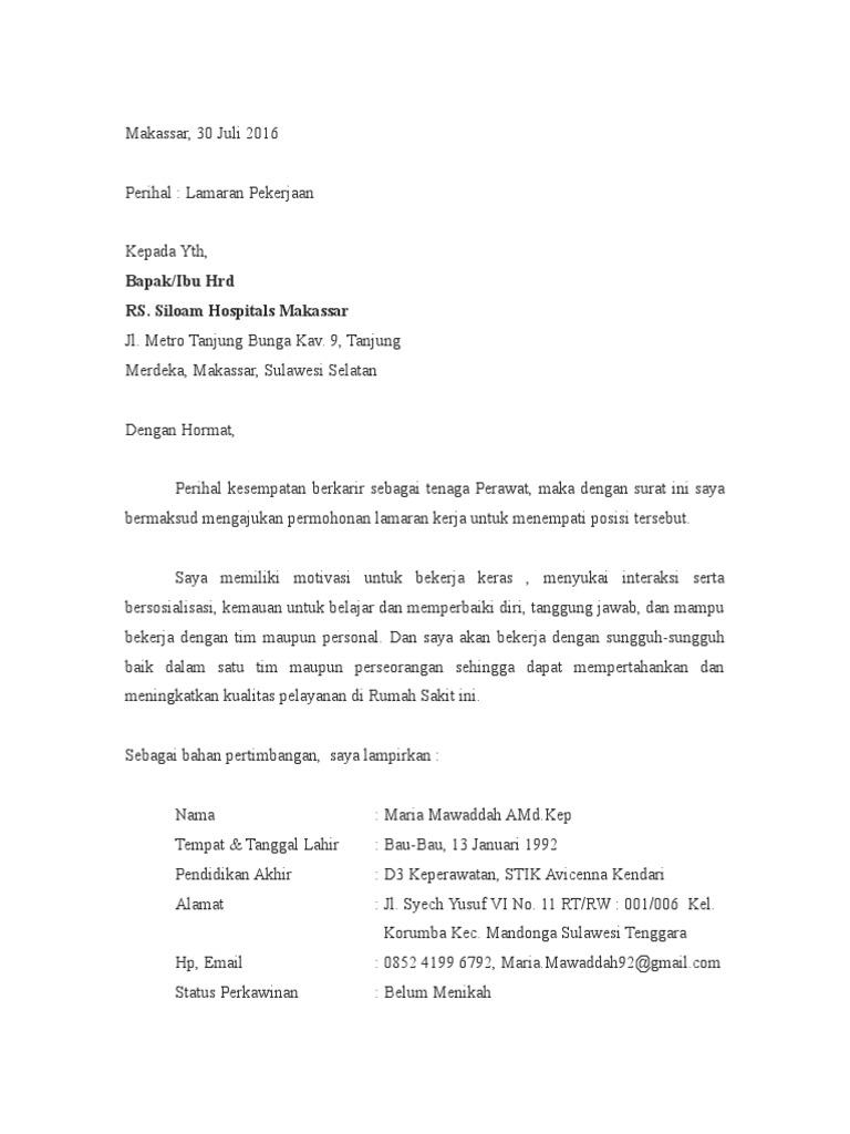 Contoh Surat Lamaran Kerja Rumah Sakit Siloam Bagi Contoh Surat