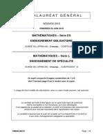 Épreuve de mathématiques ES obligatoire et L spécialité