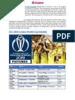 ICC Cricket World Cup 2019 Schedule - Khojdeal