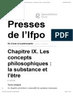 Du Coran à la philosophie - Chapitre IX. Les concepts philosophiques- la substance et l'être - Presses de l'Ifpo
