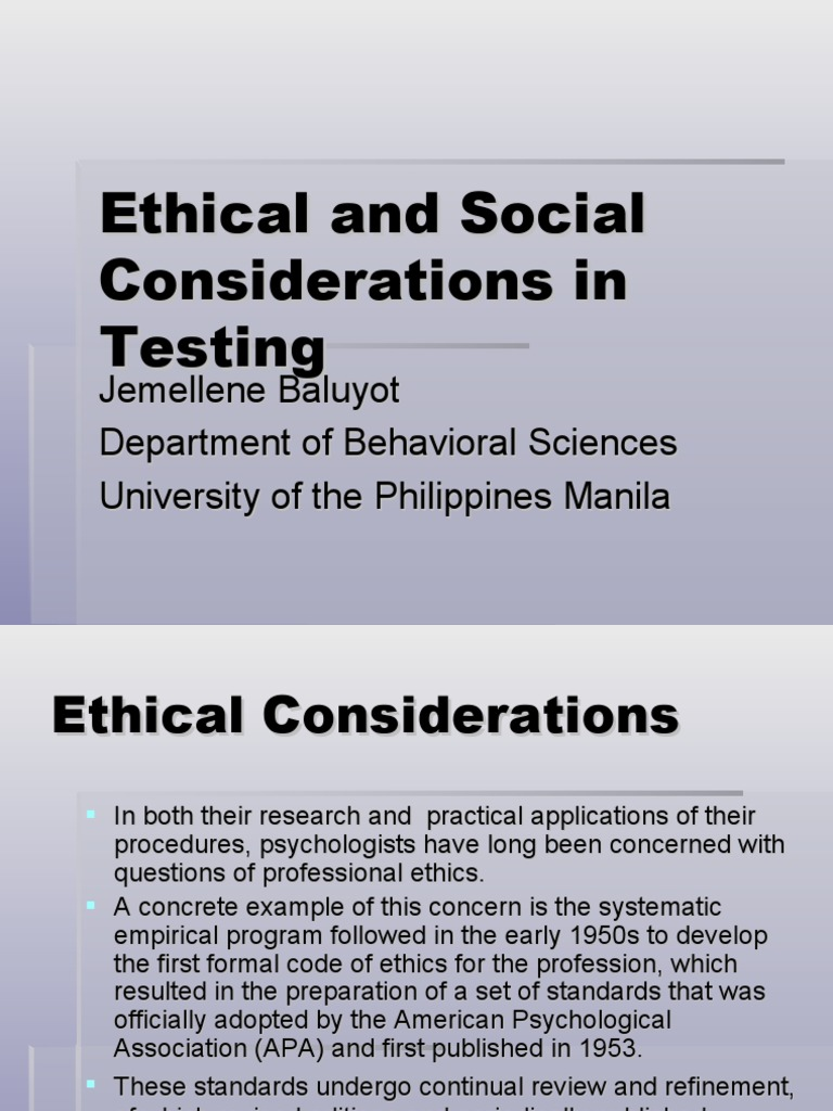 ethical and legal considerations in testing