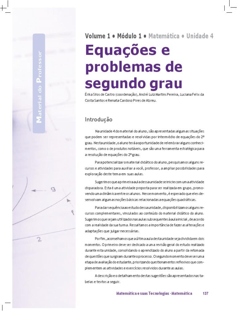 Exercicios Math 2º Grau Equacao Quadratica Equacoes