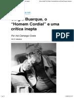"""Sérgio Buarque, o """"Homem Cordial"""" e uma crítica inepta"""