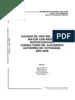 Calidad de Vida Del Adulto Mayor Con Riesgo Biopsicosocial, Consultorio Dr. Alejandro Gutierrez de Coyhaique, Ao 2008