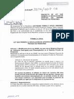 Proyecto de Ley 3036 - Devolución de Aportes de AFP