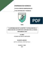INFORMALIDAD DE LAS MYPES Y SU RELACIÓN EN LA REDUCCIÓN DE LOS SERVICIOS CONTABLES EN EL DISTRITO DE HUÁNUCO 2018