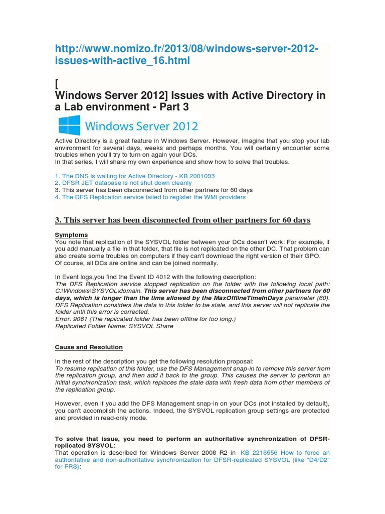 DFSR AUTHORITATIVE docx | Active Directory | Operating