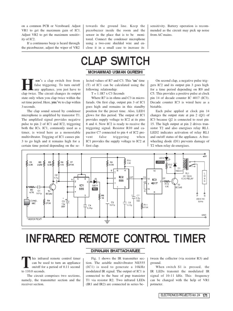 Clap Switch Electrical Components Electronics 555 On And Off Relay