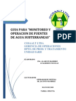 """GUIA PARA """"MONITOREO Y OPERACION DE FUENTES DE AGUA SUBTERRANEAS"""" - ING. GUALBERTO ALARCON"""