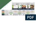 Tabela reinos Monera, Protista, Fungi, Plantae, Animalia
