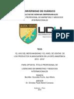 USO DEL MERCHANSIDING Y EL NIVEL DE VENTAS DE LOS PRODUCTOS HUANUAQUEÑOS OFRECIDOS EN LA EXPO- AMAZÓICA  2015- 2016