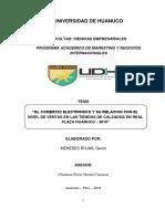 El Comercio Electrónico y su relación con el Nivel de Ventas en las tiendas de calzados en Real Plaza Huánuco - 2018
