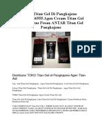 Jual Titan Gel Di Pangkajene 082285956555 Agen Cream Titan Gel Pangkajene Pesan ANTAR Titan Gel Pangkajene