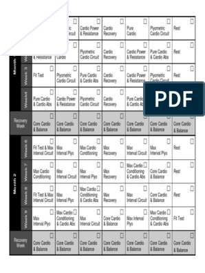 Insanity Workout Calendar pdf | Self Care | Physical Exercise