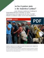 Cuáles son los 6 países más desiguales de América Latina