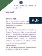 Considerandos Del Código de Trabajo de Guatemala