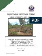 """Estudio Hidrogeologico de Pozo Tubular Para Agua Potable Del Proyecto """"Mejoramiento y Ampliación Del Sistema de Agua Potable y Alcantarillado - Ucayali"""