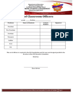 SSG Classroom Officers List and Geographical Location Form