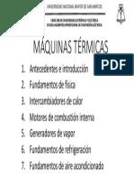 Contenidos Del Curso de Maquinas Termicas 2017-1