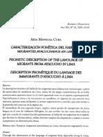 Caracterizacion Fonetica Del Habla de Migrantes Ayacuchanos en Lima