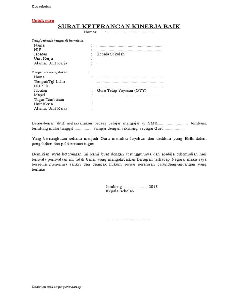 Contoh Surat Keterangan Kinerja Baik Dari Kepala Sekolah ...