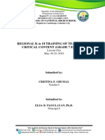 Report on Training Seminars