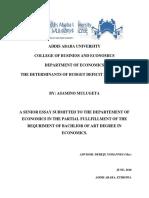 THE DETERMINANTS OF BUDGET DEFICIT IN ETHIOPIA