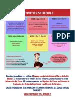 Cronograma y Actividades Primera Semana Ingles Basico 1